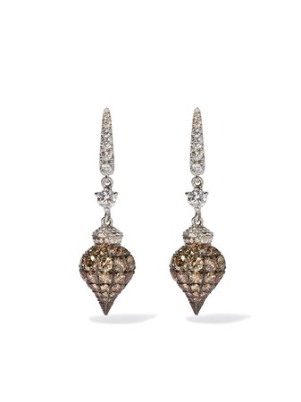 Annoushka 18kt white gold Touch Wood diamond earrings - Farfetch