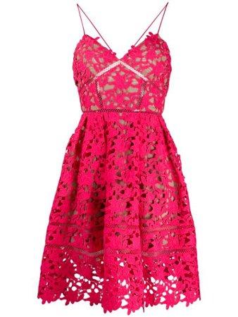 Self-Portrait Lace Mini Dress SS20119 Pink | Farfetch