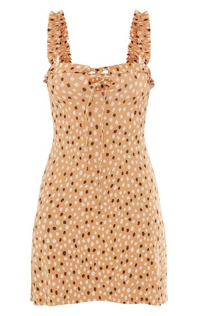 Nude Dalmatian Print Frill Detail Shift Dress - New In   PrettyLittleThing USA