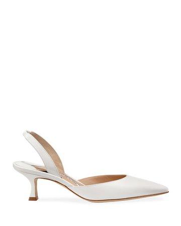 Manolo Blahnik Carolyne Low-Heel Leather Slingback Pumps   Neiman Marcus