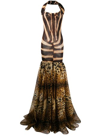 Gianfranco Ferré Pre-Owned 1990s Animalier Print Flared Gown - Farfetch