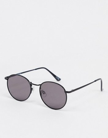 ASOS DESIGN metal round sunglasses in shiny black | ASOS