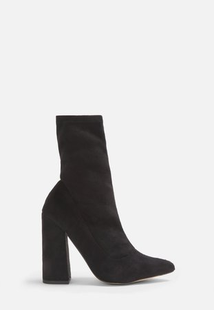 Black Faux Suede Flared Heel Sock Boots | Missguided
