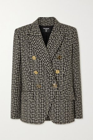 Double-breasted Wool-jacquard Blazer - Black