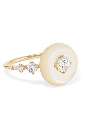 Fernando Jorge | Orbit 18-karat gold, mother-of-pearl and diamond ring | NET-A-PORTER.COM