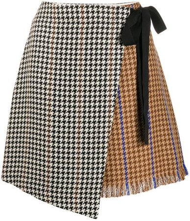 houndstooth wrap skirt