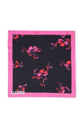 Ganni Printed Silk Twill Scarf
