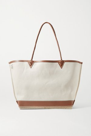 Espadrille Large Leather And Jute-trimmed Canvas Tote - Cream