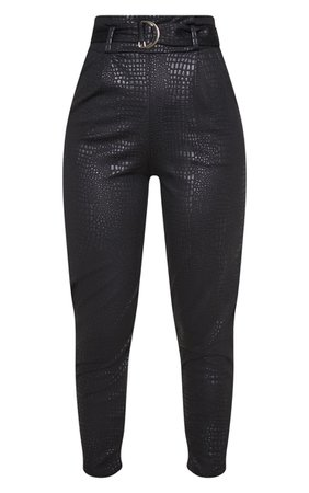 Black Croc Print D Ring Belted Peg Leg Trousers   PrettyLittleThing USA