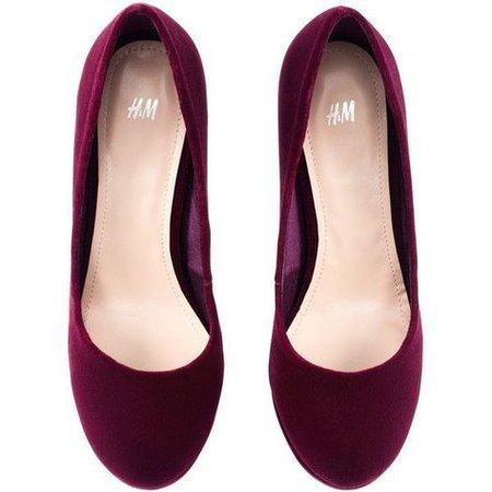 wine red velvet ballet flats