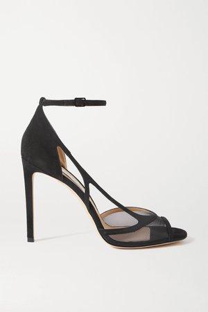 Black Liu 100 suede and mesh sandals | Jimmy Choo | NET-A-PORTER