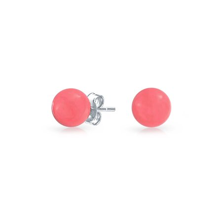 925 Sterling Silver Round Dyed Coral Stud Earrings 6mm