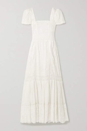 Norma Crochet-trimmed Embroidered Cotton-voile Maxi Dress - White