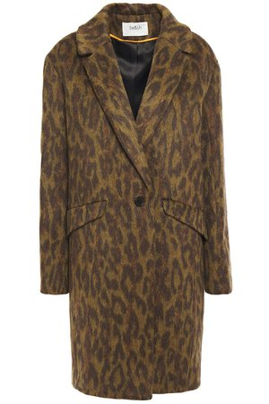BA&SH Leopard-print brushed-woven coat