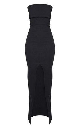 Black Fold Detail Bandeau Maxi Dress | PrettyLittleThing USA