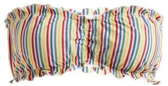 The Audrey Striped Seersucker Bandeau Bikini Top - Womens - Multi Stripe