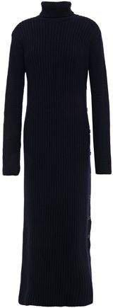Button-detailed Ribbed Wool Turtleneck Midi Dress