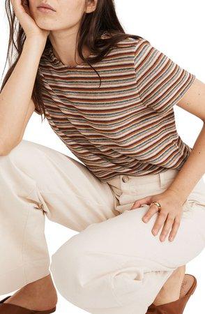 Rainbow Stripe Jacquard Shrunken T-Shirt