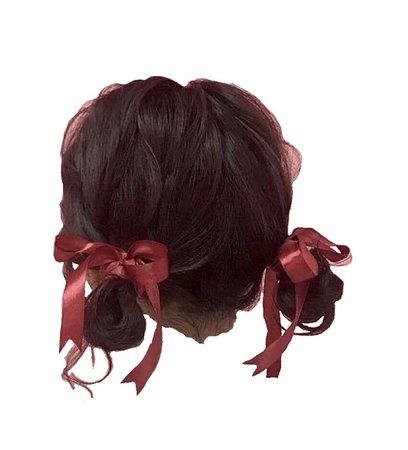 black hair red ribbons