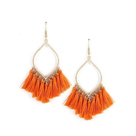 Orange Fringe Tassel Teardrop Fan Shape Dangle Statement Earrings – SeaSpray Jewelry