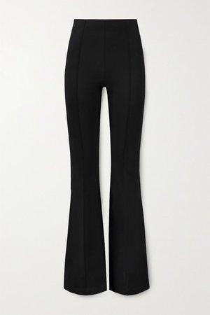 Savanna Stretch-crepe Flared Pants - Black