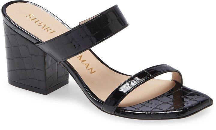 Olive Croc Embossed Slide Sandal