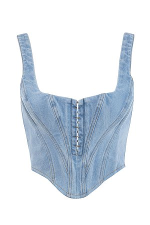 Clothing : Tops : 'Sibille' Denim Cropped Corset