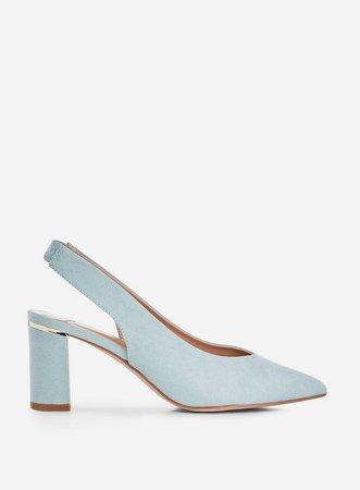 Wide Fit Blue Emily Court Shoes