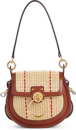 Small Tess Woven Raffia & Leather Shoulder Bag