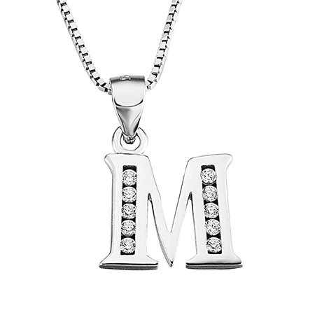 Amazon.com: YFN Initial A Pendant Necklace in Sterling Silver with Cubic Zirconial 26 Letter Alphabet Jewelry for Women Teen Girl: Jewelry
