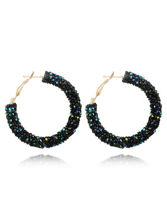 Glitter Stone Hoop Earrings
