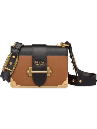 PRADA Cahier Leather Shoulder Bag - Brown