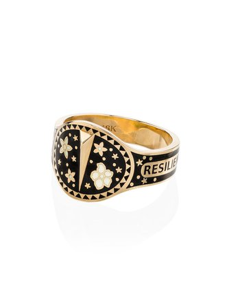 Yellow Gold & Black Foundrae 18K Yellow Gold Resilience Ring | Farfetch.com