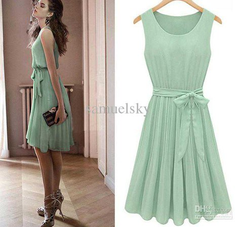 Hot Sale!! Europe And America 2016 Fashion Office Elegant Female Pleated Skirt Mint Green Chiffon Bow Belt Sleeveless Women'S Dress Party Dresses Ladies Dress For Cocktail From Samuelsky, $19.1| Dhgate.Com