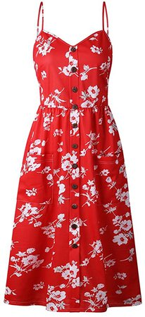 OCHENTA Women's Floral Spaghetti Strap Midi Dress Button Front with Pockets at Amazon Women's Clothing store