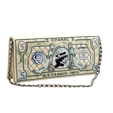 Chanel Runway Limited Edition Dollar Clutch Bag, 2014 / 2015 For Sale at 1stdibs