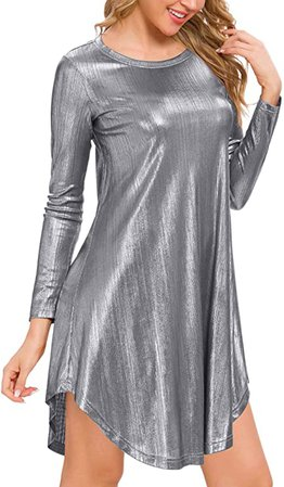 MSBASIC Womens Long Sleeve Glitter Loose Swing Party Dress at Amazon Women's Clothing store