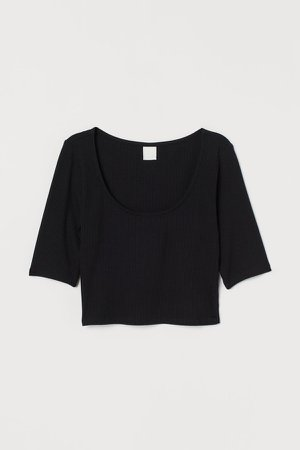 Ribbed Cropped Top - Black