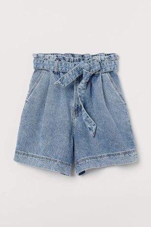 Denim Paper-bag Shorts - Blue
