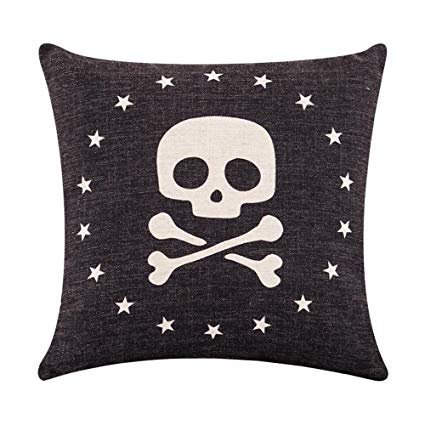 MR FANTASY Cotton Linen Square Throw Pillow Cover Shell Decorative Cushion Cover Fuck Off Pop Art Gothic for Sofa Home Office 18X18in Black: Gateway
