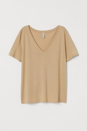 V-neck T-shirt - Beige - | H&M US