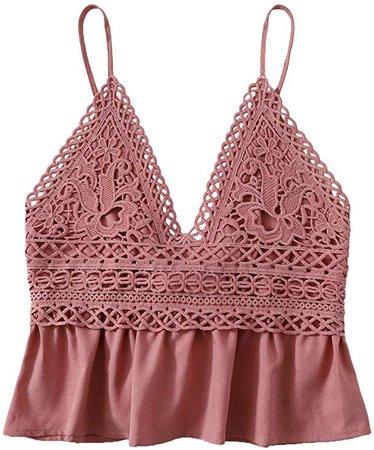 SheIn Women's Summer Printed Ruffle Hem Blouse Cami Sleeveless Peplum Top Rust X-Small at Amazon Women's Clothing store