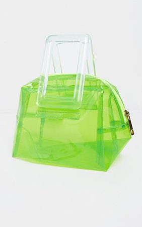 Neon Lime Clear Resin Handle Mini Bag | PrettyLittleThing