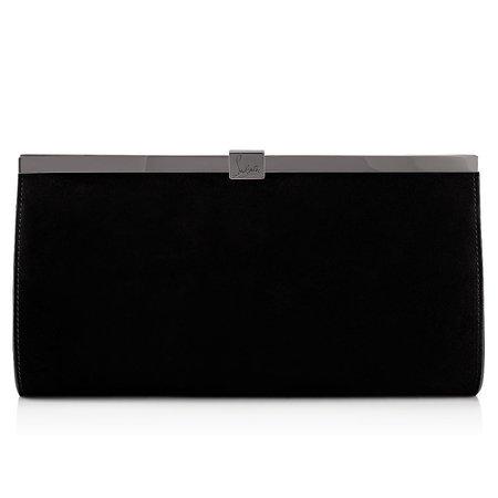 Palmette Clutch Black Veau velours - Handbags - Christian Louboutin