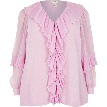Plus pink ruffle long sleeve blouse top | River Island