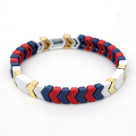 Women Arrowhead Russia Enamel Tile Bracelet Stretch Bangle Fashion Pulseras Stacking Friendship Jewelry White Blue Red Strand Bracelets  - AliExpress