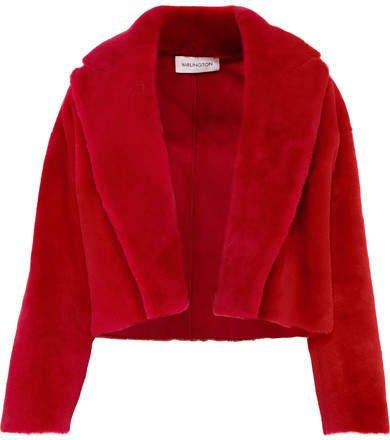 16ARLINGTON - Cropped Shearling Jacket - Red