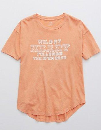 Aerie Distressed Boyfriend T-Shirt peach