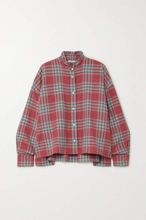 Ilaria Oversized Ruffled Checked Cotton-flannel Shirt - Red