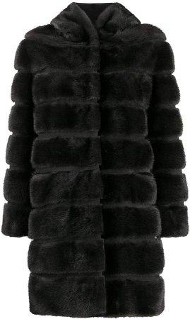 hooded adjustable faux fur coat